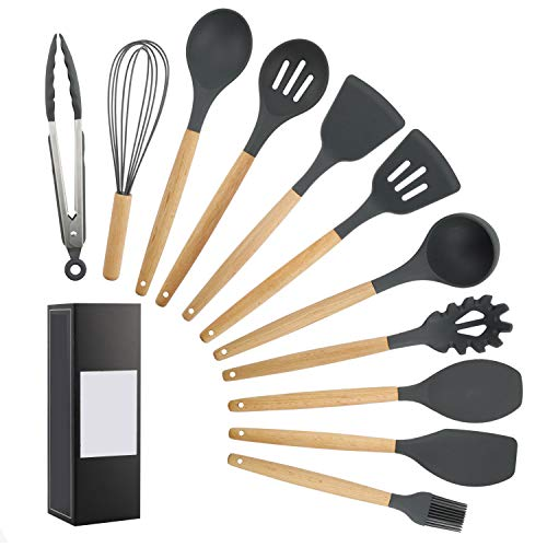 11 Sets Food Grade Silicone Kitchen Cooking Utensils Practical Cooking Tools Turner Spatula Spoon with Wooden Handle Kitchenware