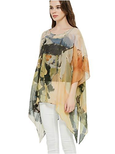 prettystern Damen Seiden-Tunika Chiffon Poncho Sommer Bluse Strandkleid Überwurf abstrakte Kunst orange