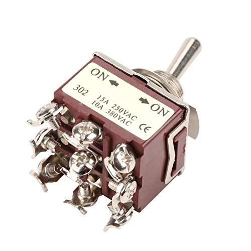 Interruptor de palanca, 5 piezas, 9 pines, 2 posiciones, mini interruptor de palanca 3PDT ON/ON 12 mm 12 mm 15A/250VAC 10A/380VAC, interruptor de botón de agitación para automóvil, electrodomé