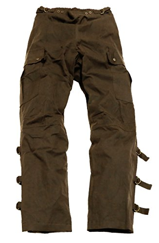 Kakadu Traders Motorcycle Walk a Bout Riding Pants Made from MicroWax Oilskin Brown