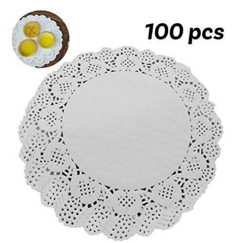IUwnHceE 100 Stück Papier Deckchen Einweg-weiße Spitze Dekorative Deckchen Runde Dekorpapier Platzdeckchen Masse Für Geschirr, Dekoration Kuchen Verpackung (7,5 Inch)