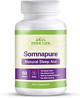 Somnapure Natural Sleep Aid with Melatonin, Valerian, and Chamomile, Non-Habit-Forming Sleeping Pill, Fall Asleep and Stay Asleep, Peak Life, 60 Count