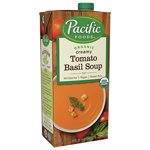 Pacific Foods Organic Vegan Tomato Basil Soup, 32-Ounce Cartons, 12-Pack