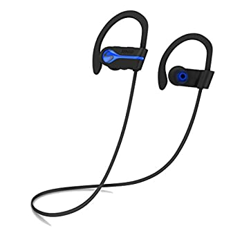 SENSO Bluetooth Wireless Headphones Best Sports Earphones w/Mic IPX7 Waterproof HD Stereo Sweatproof Earbuds for Gym Running Workout 8 Hour Battery Noise Cancelling Headsets Cordless Heapdhone - Blue