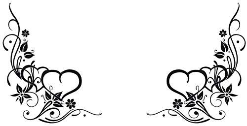 DD Dotzler Design 8216 Klebe-Folie Blumen Blüten Blumenranke Ornament Herz Auto-aufkleber Auto-Folie Blumen-Ranke Herz Motorhaube Heckscheibe Folie 117 x 58 cm schwarz