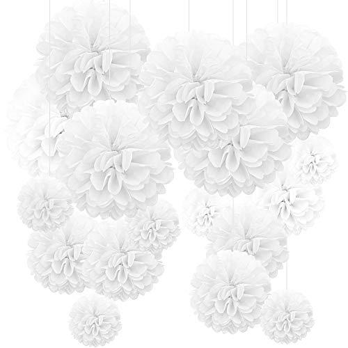 Pompones de boda, 24 unidades, decoración de boda, pompones blancos, origami DIY, pompones de papel, decoración de mesa, decoración de cumpleaños, fiestas, día de San Valentín, Día de la Madre
