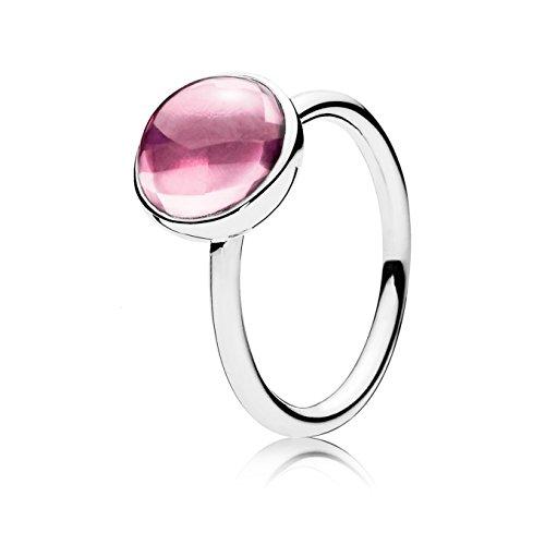 Pandora Damen-Ring Malerisches Tröpfchen 925 Silber Zirkonia rosa Gr. 54 (17.2)-190982PCZ-54