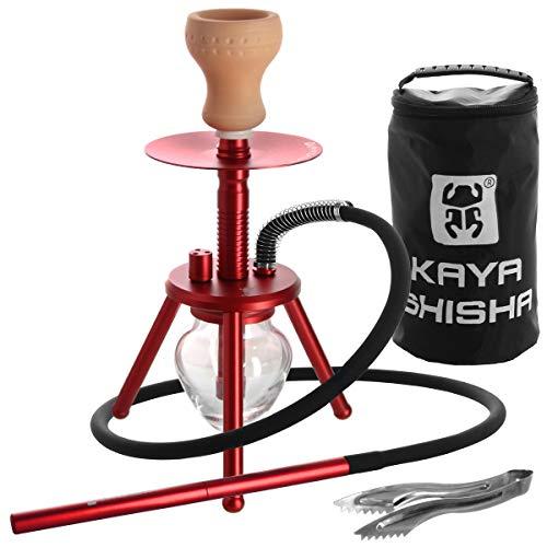 Kaya ELOX Eco Bonfire Shisha - ca. 33cm - dreibeinige Outdoor Wasserpfeife mit Kohlezange und Reisetasche (Rot)