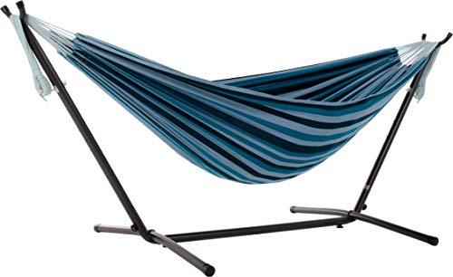 Vivere Doppel Baumwolle Hängematte mit Hängemattengestell 250 cm, Blue Lagoon