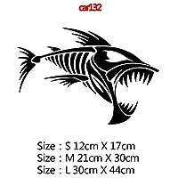カースタイリングカーウィンドウビニール接着剤ステッカー、色名におかしい囲碁釣りや鯉ハンターカーステッカーステッカー3Dカースタイリング装飾:11、サイズ:12CM、スタイル:8 - シルバー (Color : 4, Size : 30CM)