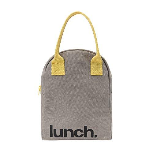 Fluf Zipper Lunch Bag | Reusable Canvas Lunch Box for Women, Men, Kids | Organic Cotton Meal Tote | (Grey Yellow)