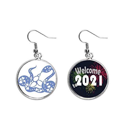 Año De Serpiente Animal China Zodíaco Oreja Colgantes Pendientes Joyería 2021 Bendición