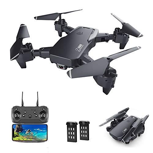 3T6B Drone con 1080P HD Cámara, Modo sin Cabeza, Retorno con un Botón, Flotar, Foto Gestos, Vuelo de 22 Minutos, 2 Baterías Modulares, Quadcopter Controlado App para Principiantes, Negro