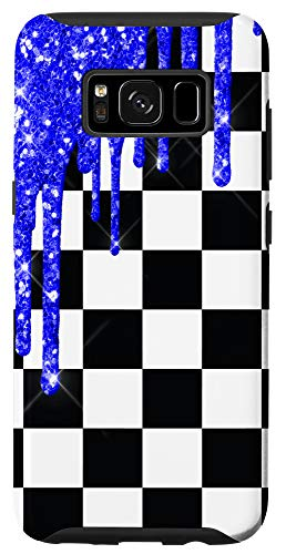 Galaxy S8 Checkered Black And White Blue Drips Checkerboard Phone Case