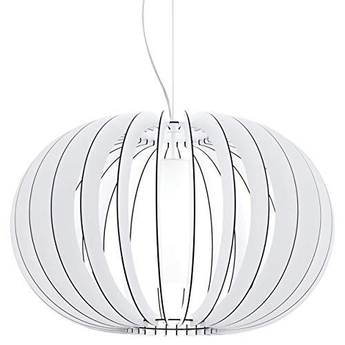 EGLO Pendelleuchte Stellato 2, 1 flammige Hängelampe Vintage, Hängeleuchte aus Stahl, Holz und Glas in weiß, Esstischlampe, Wohnzimmerlampe hängend mit E27 Fassung, Ø 70 cm