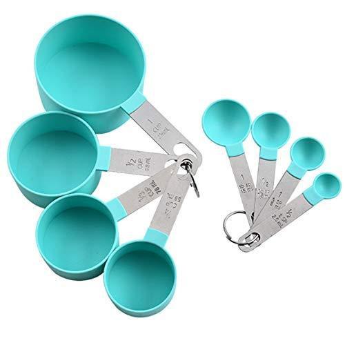 Sagladiolus 8pcs cuillère à mesurer en Acier Inoxydable Cuisson thé café Cuisine Balance Tasse à mesurer cuillères à mesurer Ensemble - Vert
