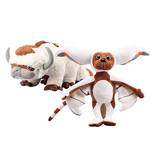 Detazhi 2 Stück Avatar Last Airbender Appa & Momo Plüschtier weiche Kuscheltiere Rinder und Bat-Puppe Kinder Spielzeug