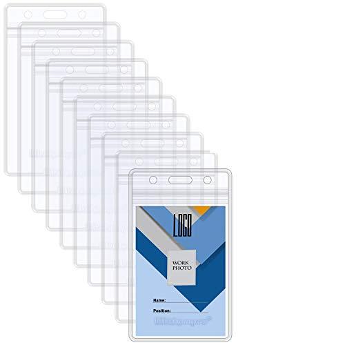 10枚入り IDカードホルダー 縦型 Wisdompro 両面ポケット ソフトネームケース PVC製 社員証 ・名刺・名札入れ バッジ防水 クリア