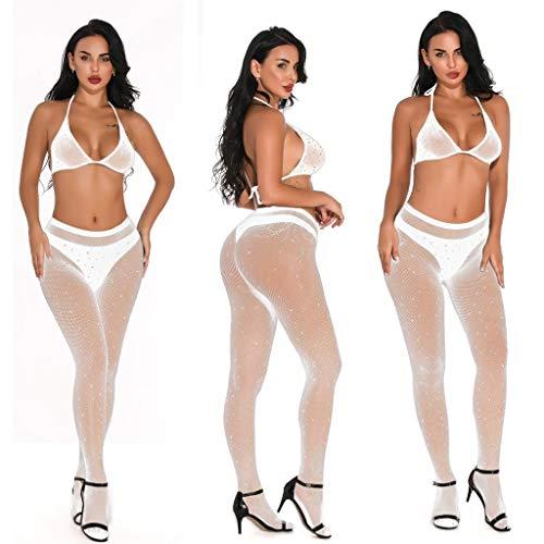 Fenverk Damen Bodysuit Bodydoll Erotik-Set Netz-Wetlook-Outfit Dessous Strapse Set Sexy Unterwäsche Reizwäsche Lingerie Sleepwear Spitze BH String mit Net Stocking Nachtwäsche (Weiß,one Size)