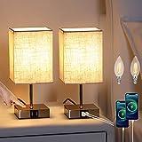 Lightess 2 Piezas Lámpara de Mesa Táctil Control Lámpara Mesita de Noche LED Regulable Beige Pantalla de Tela Lámpara Sobremesa 2 Puertos USB para Dormitorio, Habitación de Bebé, Incluye Bombillas, S2