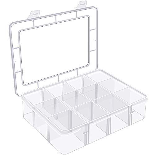 Arts Crafts Storage Box Organizer for Beads Crafts Jewelry Fishing Tackles, Washi Tape, Art Supplies, Sticker, Small Toy& Accessories and More. 12 Compartments.