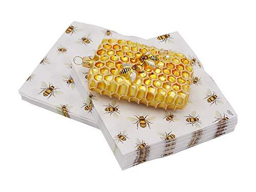 Unbekannt Geschenkset Geschenk Imker Weihnachten Servietten Bienen + Honigwabe Christbaumschmuck Kaffeeserviette Geschenkidee