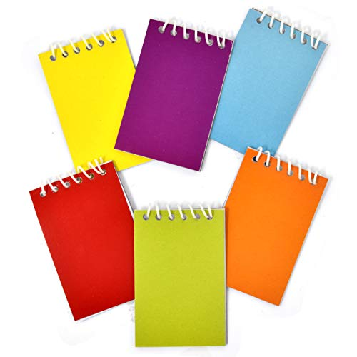 48 Count 6 Colored Mini Notepads Rainbow Crayons Themed Memo Spiral Notebooks Coloring Drawing Sketch Homework Pad Journal for Kids Boys Girls Teacher School Classroom Goody Bag Birthday Party Favor