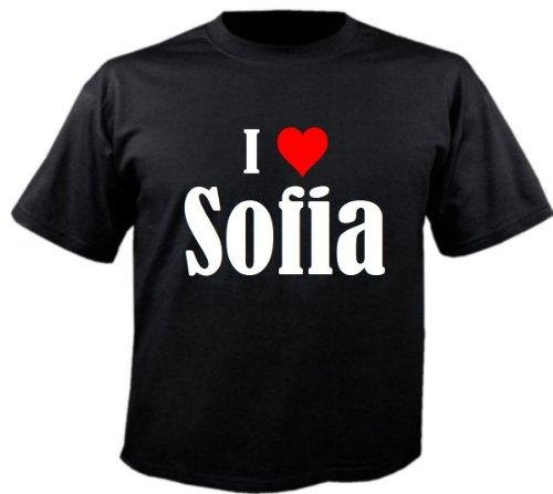 Camiseta 'I Love Sofia' para mujer, hombre y niños en los colores negro, blanco y rosa. Negro 14 años