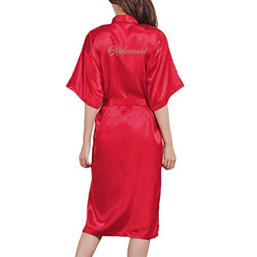 Yying Kimono Bata Novia Dama Honor Largos Camisones Boda Maquillaje Mañana Mantas Satén Camisón Boda Dama Honor Regalo