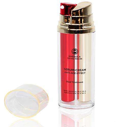 Mejor Suero Crema Antiarrugas Mujer Hombre-2 Productos, Doble Resultado, Efecto Inmediato - 4 tipos de Ácido Hialurónico, Vitamina A, C, Aceite de Jojoba, Argán - Antiarrugas, hidratante, iluminador.