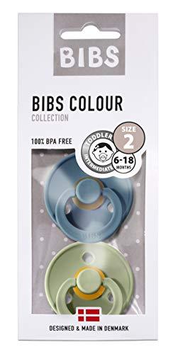 BIBS Colour Schnuller // 2er Pack // 100% BPA FREI // Dänisches Original mit Kirschform, geprüft nach EN1400 // Größe 1&2 // exklusive Farbvariationen (Größe 2 (6-18 Monate), Petrol & Sage)
