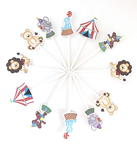 Circus Cupcake Toppers 12 pcs - Neutral Carnival Birthday Decoration Party Supplies, Big Top Baby Shower Themed Celebration