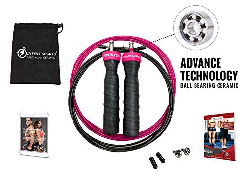 INTENT SPORTS Ceramic Jump Rope Ceramic for Professional Sport Speed with Fast, Smooth Action (Pink)