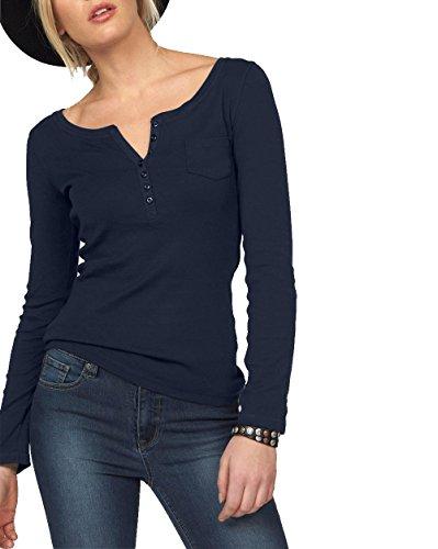 ELFIN Damen Langarmshirt Rundhals Leicht V-Ausschnitt Longsleeve T-Shirt Langarm Freizeit Oberteil Elegantes Stretchbar Henley Shirt Basic Tops, Blau, XL