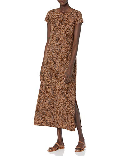 Daily Ritual Women's Lived-in Cotton Relaxed-Fit Short Sleeve Crewneck Maxi Dress, Black/Brown Rain Drop Print, Small