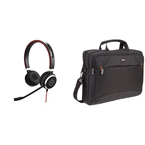 40 MS Stereo-Kabel-Headset mit USB und 3,5 mm-Klinke für PC/Laptop/Smartphone/Tablet, Busylight, für Skype for Business & Amazon Basics Tasche für Laptop/Tablet mit Bildschirmdiagonale 15,6Zoll