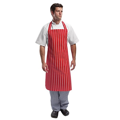 Whites Chefs Apparel A532 slabbetje schort, grootte: 71,1 x 96,5 cm rood/wit gestreept