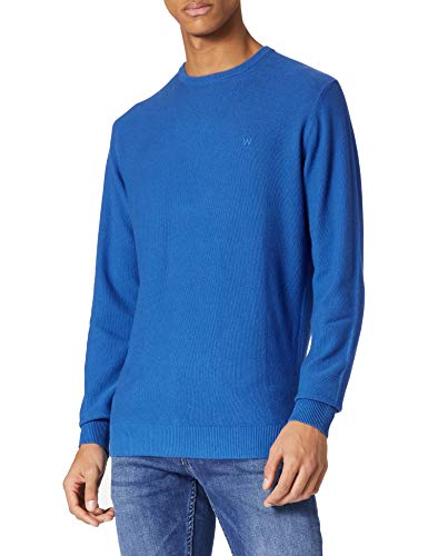 Wrangler Mens Crew Knit Pullover Sweater, Blue, 4XL