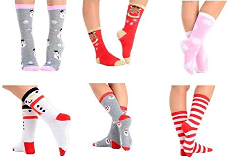 RJM Damen Socken Einheitsgröße Gr. Einheitsgröße, 6 Pairs Assorted Novelty Designs