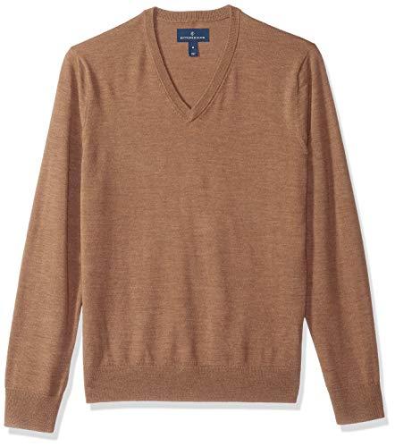 BUTTONED DOWN Men's Italian Merino Wool Lightweight Cashwool V-Neck Sweater, Brown Heather, Medium