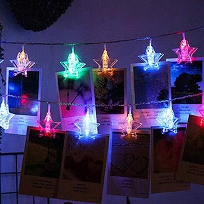 YLHXYPP Ahorro de energía 1,5M 3M 6M LED Estrellas Cadena Luces Tarjeta Clip Holder Vacaciones Garland lámpara for Navidad Año Nuevo decoración de la Boda Protección del Medio Ambiente.