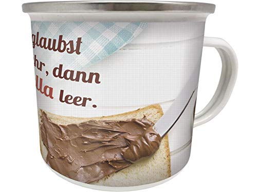 Blechwaren Fabrik Braunschweig GmbH Emaille Becher 0,5 L - UND WENN DU DENKST ES GEHT Nicht MEHR - Schokolade EB69