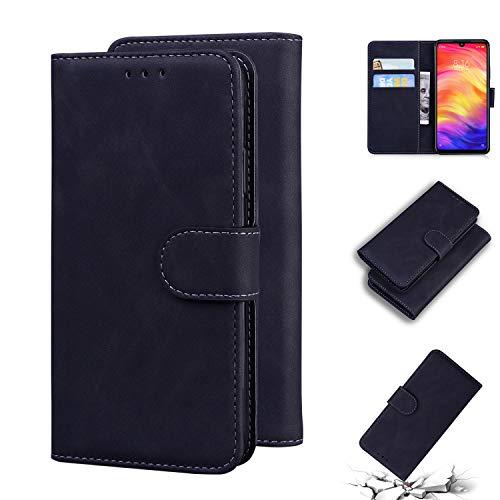 LODROC Xiaomi Redmi Note 7/Note 7 Pro Hülle, TPU Lederhülle Magnetische Schutzhülle [Kartenfach] [Standfunktion], Stoßfeste Tasche Kompatibel für Xiaomi Redmi Note 7 - LOTX0100781 Schwarz