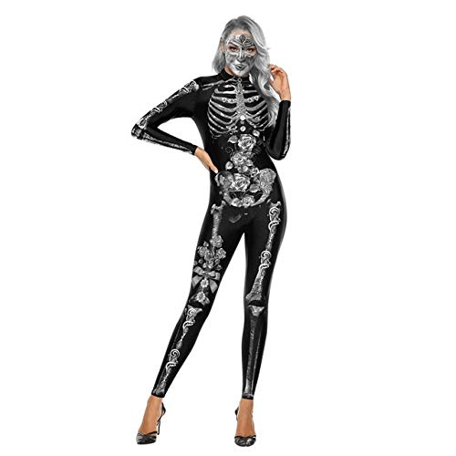 AHJSN Halloween Cosplay Costumi Donna Scheletro 3D Stampato Spaventoso Jumpsuit Skull Floral Horror Full Sleeve Stage Indossare
