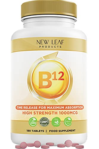 Vitamin B12 1000mcg High Strength Slow Release Formula Max Absorption B12 Tablets Contributes to The Reduction of Tiredness and Fatigue, Helps The Nervous System and Energy Levels GMP, Made in UK