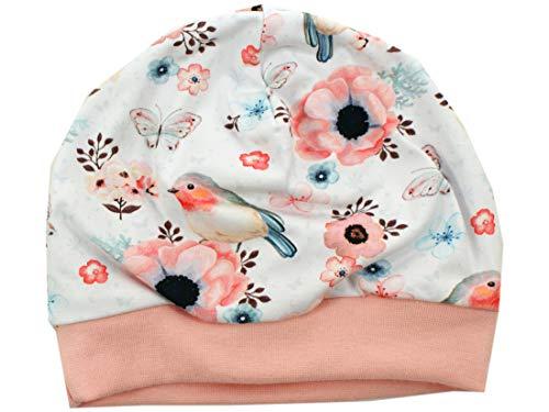Kleine Könige Bonnet pour bébé Fille avec Fonction de réveil, modèle Oiseaux Blancs Altrosa - Certifié Ökotex 100 - Tailles 50-128 - Blanc - 50/56 cm