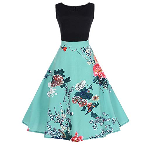 U/A Sweet V-Neck Print Sleeveless Swing Dress Green