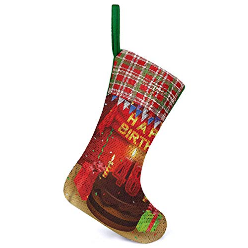 Adorise Christmas Hanging Stockings Present Cake Candle Fireplace Hanging Stockings Decorations for Xmas Holiday Season Party Decor