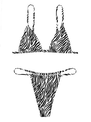 Floerns Women's Leopard Triangle Swimwear Spaghetti Strap Two Piece Swimsuit Black and White M