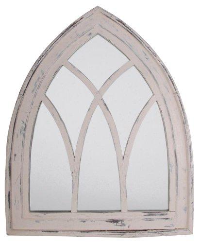 Esschert Design Wandspiegel, Garderobenspiegel im Gothic Stil in wasch-weiß, ca. 66 cm x 80 cm